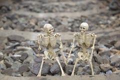 Скелет приятеля человеческий на железнодорожной предпосылке Стоковые Фото
