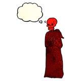 скелет шаржа пугающий в робе с пузырем мысли Стоковая Фотография