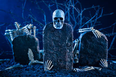 Скелет scatter на надгробной плите стоковое фото rf