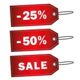 Скидка 25 красной этикетки продажи 50 процентов Стоковое Изображение RF