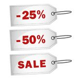 Скидка 25 ярлыка продажи белая 50 процентов Стоковое Изображение