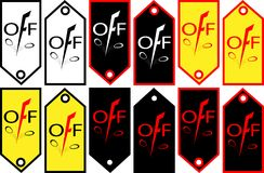 Скидки знамени с падением в ценах уценивают логотип-значок Стоковое Фото