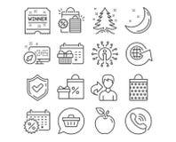 Скидки календаря, глобус мира и календарь рождества значки вектор бесплатная иллюстрация