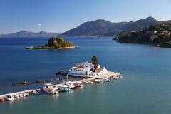Скит Kanoni в Corfu, Греции стоковое фото