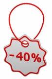 Скидка - бирка 40% перевод 3d Стоковые Изображения