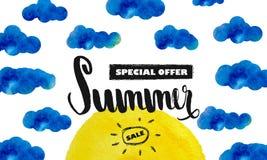 Скидка лета большая Специальное предложение на лето Sun в облаках желтый цвет акварели стародедовской предпосылки темный бумажный Стоковые Изображения RF