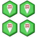 Скидка с значков бирки указателя продажи символов бесплатная иллюстрация