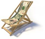 Складывая deckchair с примечанием 10 долларов стоковое изображение rf