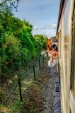 Склонность женщины увиденная фотографией из moving окна пассажирского поезда для того чтобы принять фотоснимок Стоковое Фото