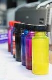склянка покрывает краской принтер Стоковая Фотография RF