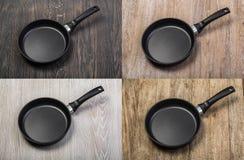 Сковорода на деревянном столе Стоковые Фото