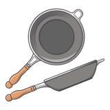 Сковороды (сторона и взгляд сверху) изолированные на белой предпосылке Искусство цветного барьера Дизайн Cookware ретро Стоковая Фотография RF