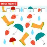 Сколько объектов Подсчитывать игру для детей дошкольного возраста Стоковые Фото