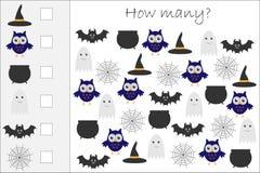 Сколько подсчитывая игра с хеллоуином изображает для детей, воспитательные математики задают работу для развития логического мышл иллюстрация штока