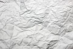 Скомканная белая страница бумажной текстуры Стоковая Фотография