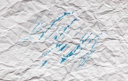 Скомканная белая страница бумажной текстуры Стоковые Фото