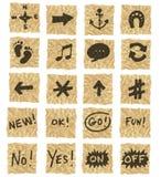 скомканная бумага икон Стоковая Фотография RF