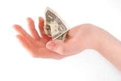 скомканная женщина удерживания руки доллара Стоковые Фото