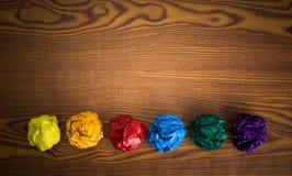 Скомканная красочная бумага Стоковые Фото