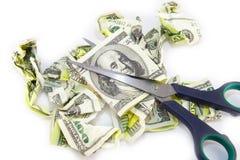 Скомканная долларовая банкнота на белой предпосылке Стоковое фото RF