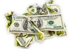 Скомканная долларовая банкнота на белой предпосылке Стоковое Изображение