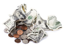 Скомканные наличные деньги & изменение Стоковые Фото