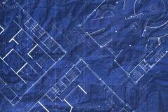 Скомканный архитектурой план здания светокопии стоковые фото