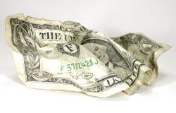 скомканный доллар стоковое фото