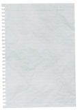 Скомканный лист выровнянной бумаги или бумаги тетради Стоковые Изображения RF