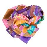 Скомканный коричневый, фиолетовый, зеленый batic silk шарф Стоковые Фотографии RF