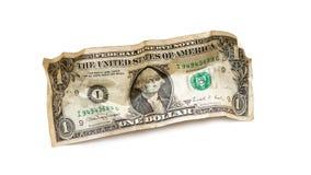 Скомканный один доллар США Стоковое Фото
