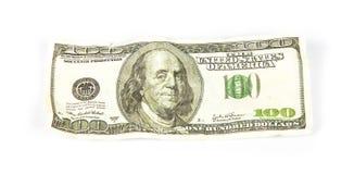 Скомканный 100 долларов Стоковые Изображения RF