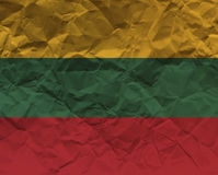 Скомканный флаг текстурированный бумагой - Литва Стоковые Изображения