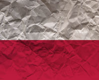 Скомканный флаг текстурированный бумагой - Польша Стоковое Изображение RF