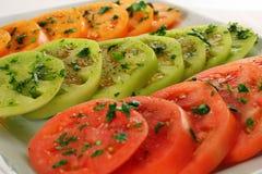 скопируйте зеленый красный желтый цвет томатов Стоковое Изображение RF