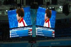 скорость Коротк-трека катаясь на коньках дамы 1500 измеряет церемонию цветка на x Стоковые Фото