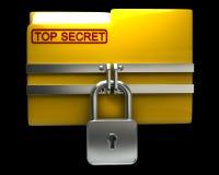 Скоросшиватель с закрытым padlock (высшая степень секретности) Стоковые Фотографии RF