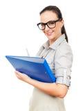скоросшиватель комода дела предпосылки голубой она изолировал давления к белой женщине Стоковые Фотографии RF
