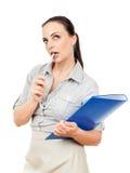 скоросшиватель комода дела предпосылки голубой она изолировал давления к белой женщине Стоковая Фотография