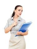 скоросшиватель комода дела предпосылки голубой она изолировал давления к белой женщине Стоковые Фото