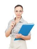 скоросшиватель комода дела предпосылки голубой она изолировал давления к белой женщине Стоковое Изображение