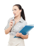 скоросшиватель комода дела предпосылки голубой она изолировал давления к белой женщине Стоковая Фотография RF