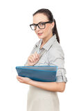 скоросшиватель комода дела предпосылки голубой она изолировал давления к белой женщине Стоковые Изображения RF