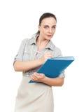 скоросшиватель комода дела предпосылки голубой она изолировал давления к белой женщине Стоковые Изображения
