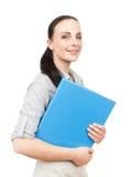 скоросшиватель комода дела предпосылки голубой она изолировал давления к белой женщине Стоковое Изображение RF