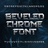 Скошенный шрифт алфавита металла Покройте хромом письма и номера влияния на абстрактной полигональной предпосылке Стоковая Фотография RF