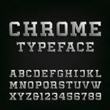 Скошенный шрифт вектора алфавита хрома Стоковые Изображения