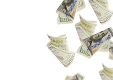 Скрепления летая 100 долларовых банкнот абстрактные деньги предпосылки Стоковая Фотография