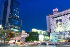 Скрещивание борьбы Shibuya в токио на ноче, Японии Стоковые Фотографии RF