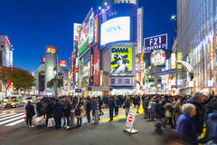 Скрещивание борьбы Shibuya в токио на ноче, Японии Стоковые Фото